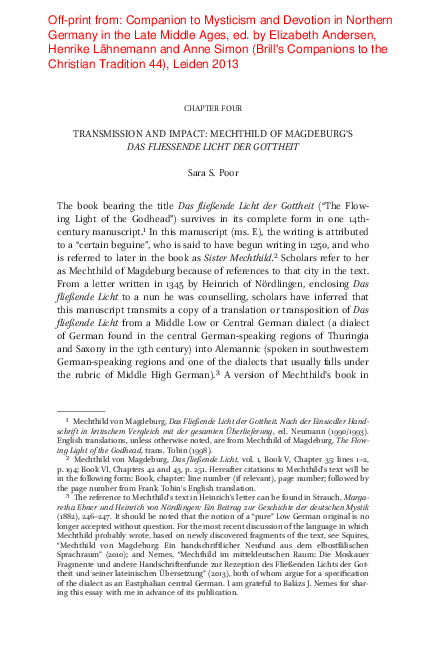 """PDF) Off-print: """"Transmission and Impact: Mechthild von Magdeburg's _Das  fliessende Licht der Gottheit_,""""   Sara S. Poor - Academia.edu"""