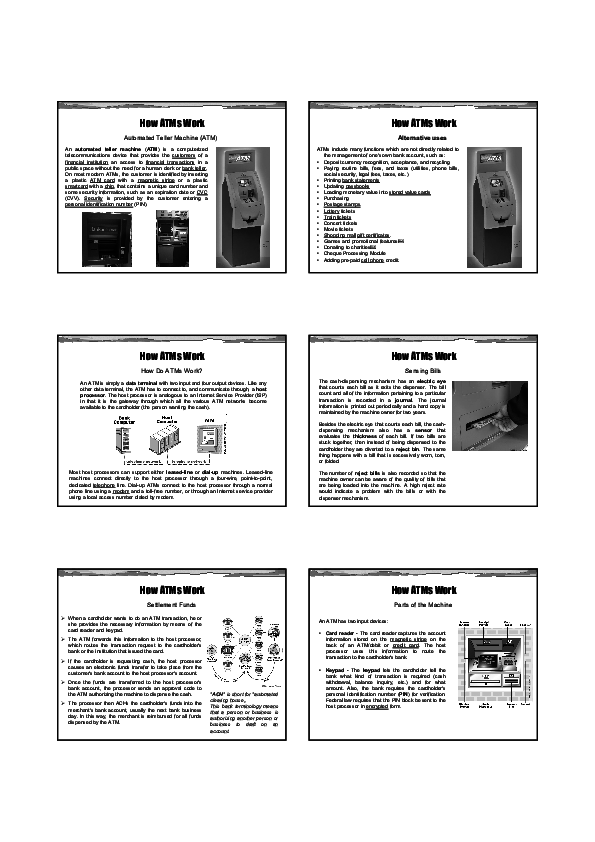 PDF) How ATMs Work Automated Teller Machine (ATM)   Terrorr