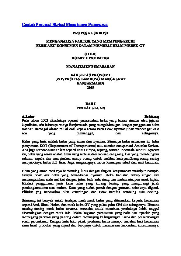 Doc Contoh Proposal Skripsi Manajemen Pemasaran Petroleum