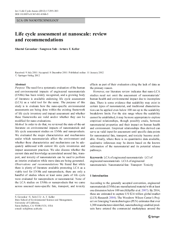 PDF) LCA ON NANOTECHNOLOGY Life cycle assessment at