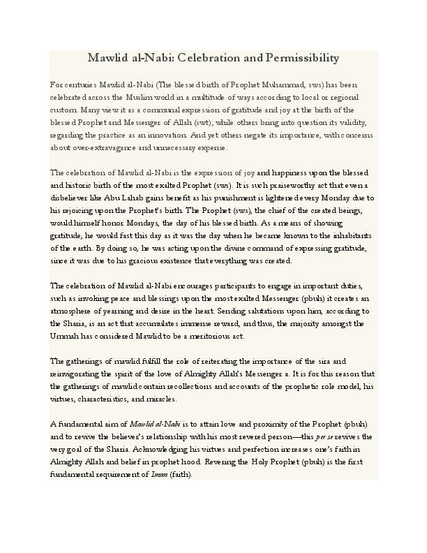 PDF) Mawlid al-Nabi: Celebration and Permissibility | Shahid