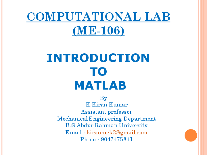 PDF) Lecture on MATLAB for Mechanical Engineers | KIRAN