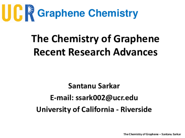 PDF) The Chemistry of Graphene - Powerpoint Review - Santanu
