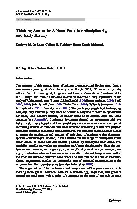 PDF) Thinking Across the African Past: Interdisciplinarity