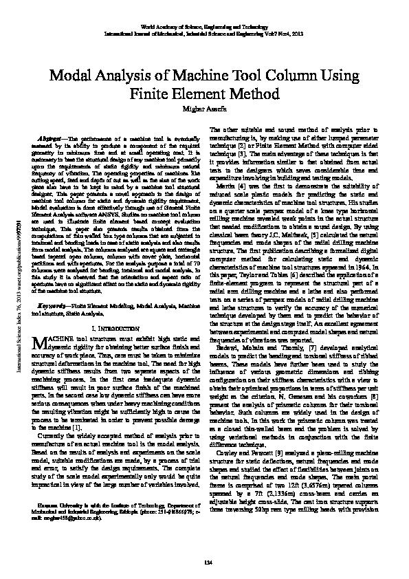 PDF) Modal Analysis of Machine Tool Column Using Finite Element