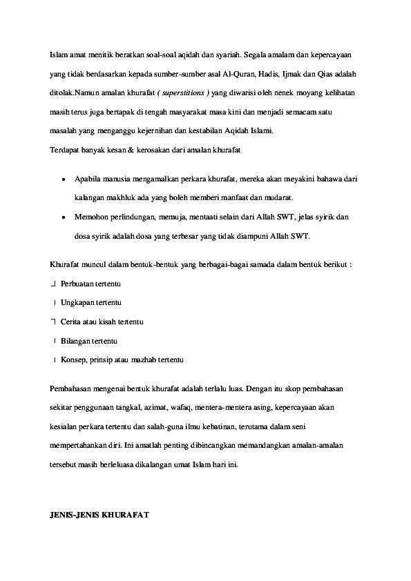PDF) Khurafat / Ruqyah / Tangkal | Tinta Emas - Academia edu