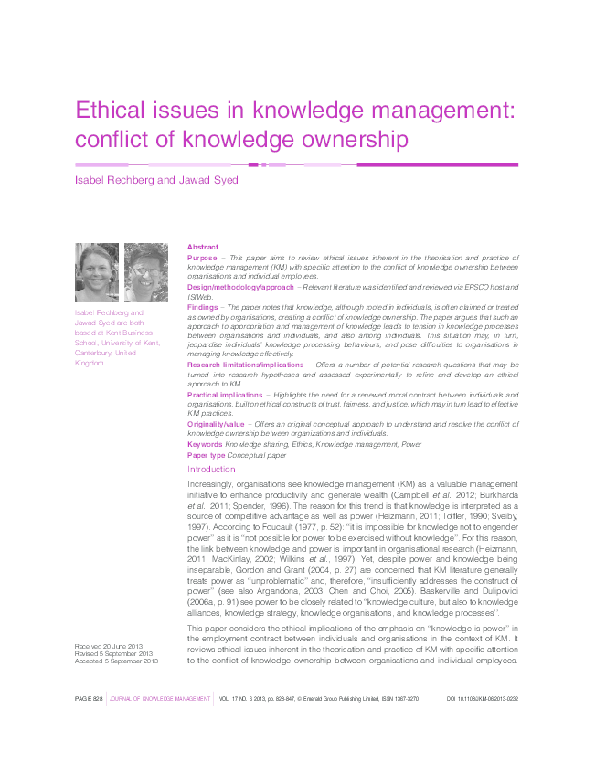 PDF) Ethical issues in knowledge management: Conflict of knowledge