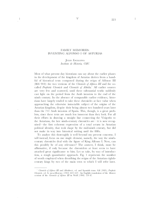 PDF) Family Memories  Inventing Alfonso I of Asturias | Julio