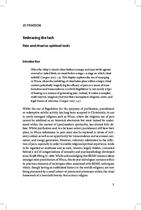 PDF) Embracing the Lash: Pain and Ritual as Spiritual Experience