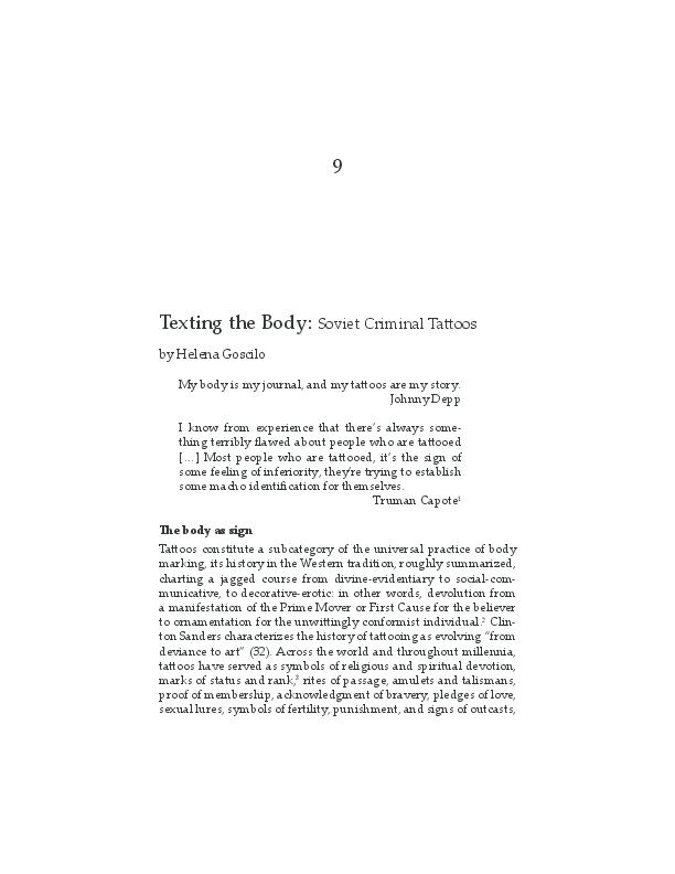 PDF) Texting the Body: Soviet Criminal Tattoos Helena Goscilo