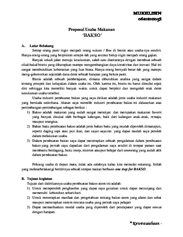 Doc Proposal Usaha Bakso Mukhlisin Abank Academia Edu
