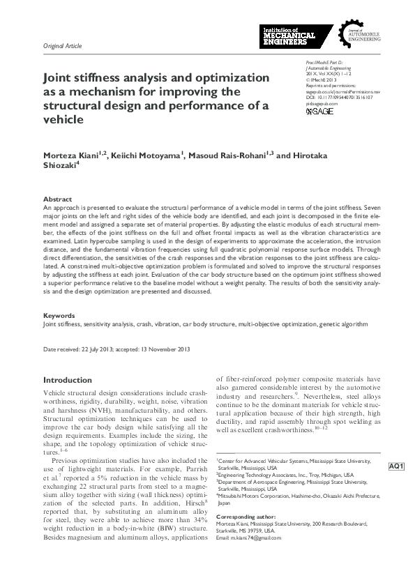 PDF) Joint stiffness analysis and optimization as a