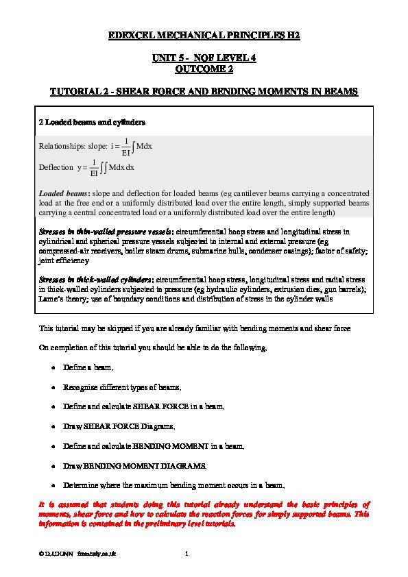 PDF) EDEXCEL MECHANICAL PRINCIPLES H2 UNIT 5 -NQF LEVEL 4 OUTCOME 2
