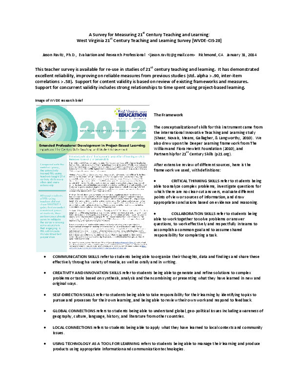 DOC) A survey for measuring 21st century teaching and