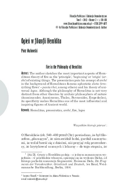 Pdf Ogień W Filozofii Heraklita Fire In The Philosophy Of