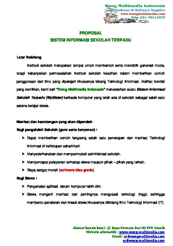 Pdf Proposal Sistem Informasi Sekolah Terpadu Aditya