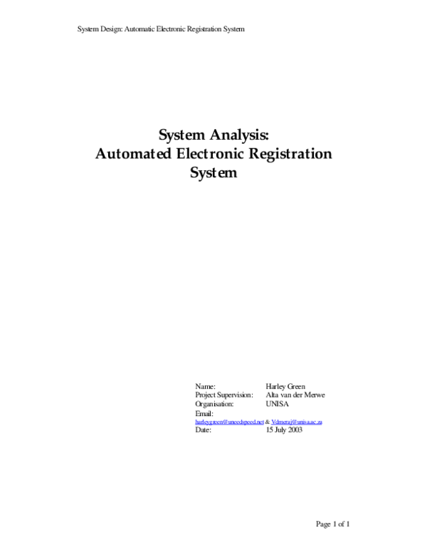 PDF) System Design: Automatic Electronic Registration System