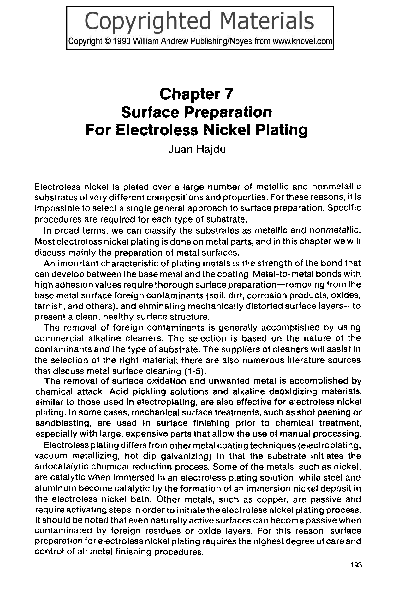 Chapter 7 Surface Preparation For Electroless Nickel Plating