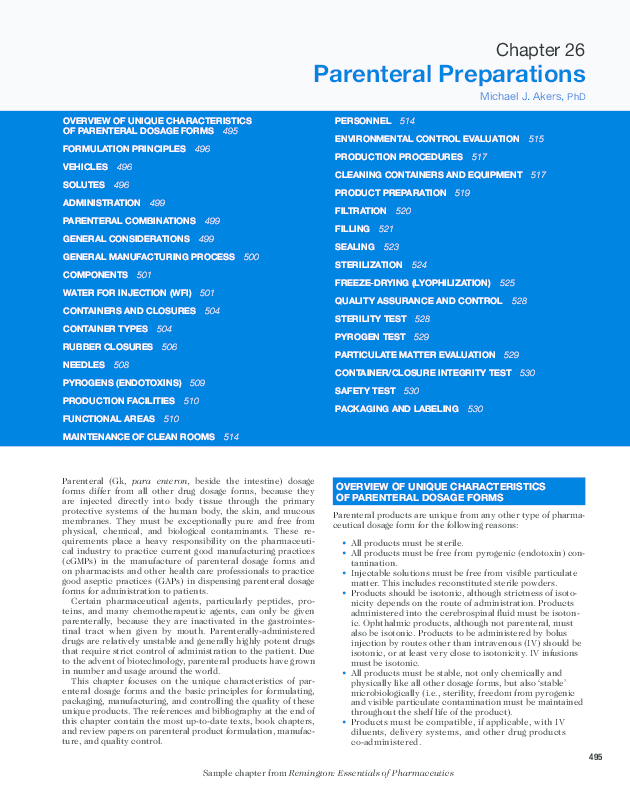 PDF) Parenteral Preparations Overview Of UniqUe