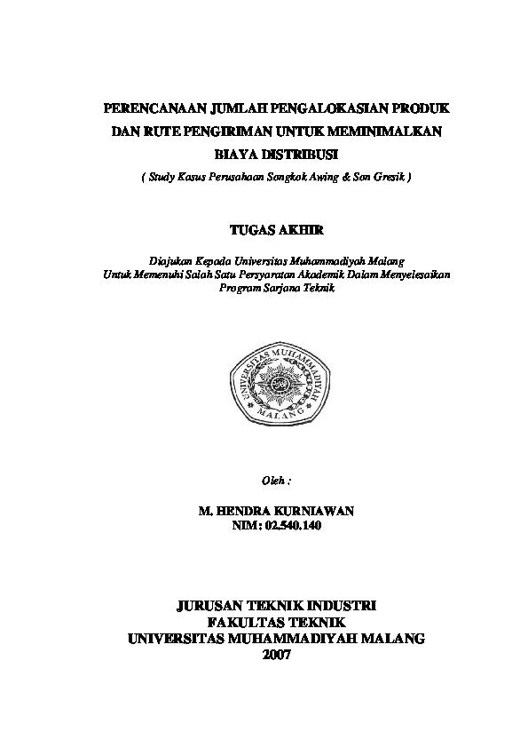 Pdf Perencanaan Jumlah Pengalokasian Produk Tugas Akhir Jurusan Teknik Industri Fakultas Teknik Universitas Muhammadiyah Malang 2007 Gita Arimbi Academia Edu