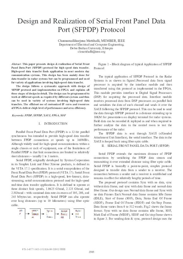 Pdf Design And Realization Of Serial Front Panel Data Port Sfpdp Protocol Maneesha Biroju Academia Edu