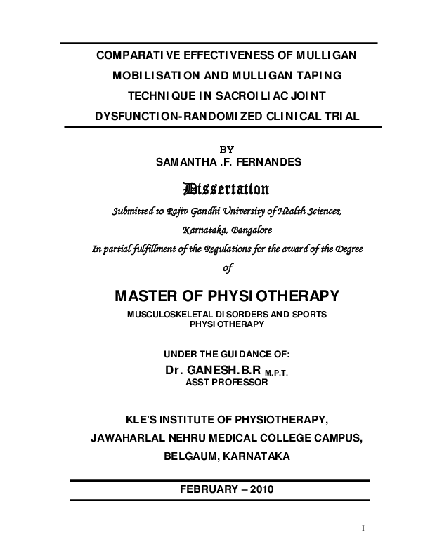 rajiv gandhi university dissertation topics in physiotherapy