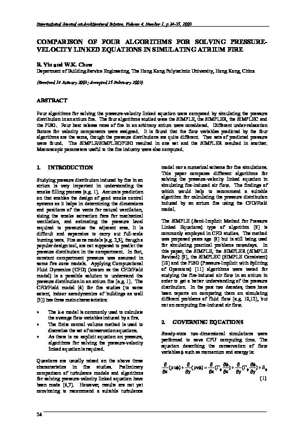 PDF) COMPARISON OF FOUR ALGORITHMS FOR SOLVING PRESSURE