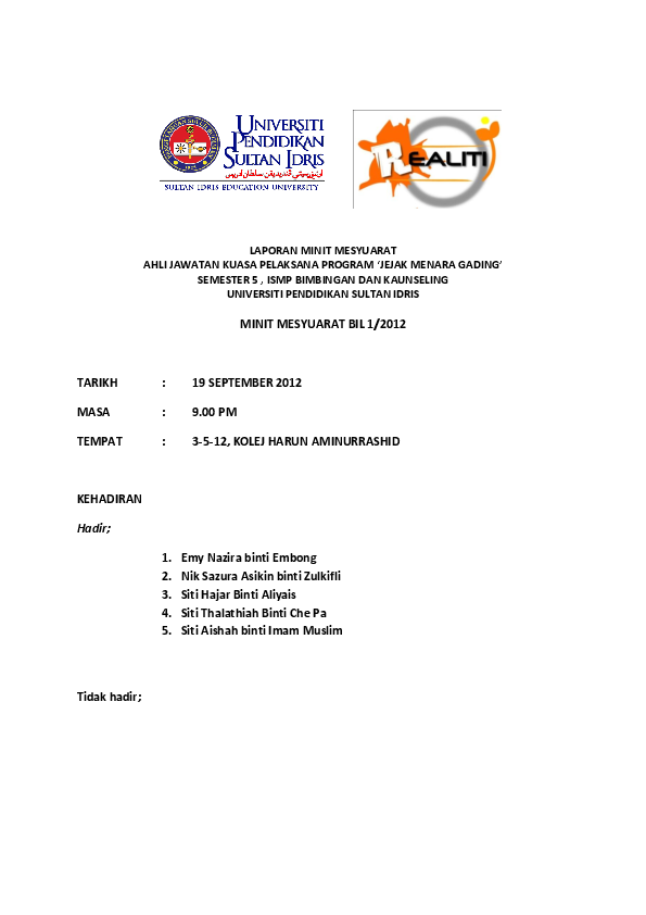 Doc Laporan Minit Mesyuarat 1 Srikandi Nazira Academia Edu