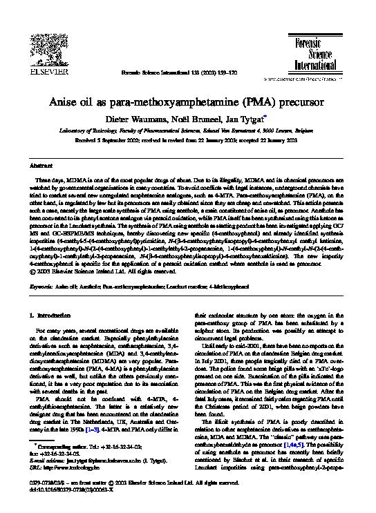 PDF) Anise oil as para-methoxyamphetamine (PMA) precursor