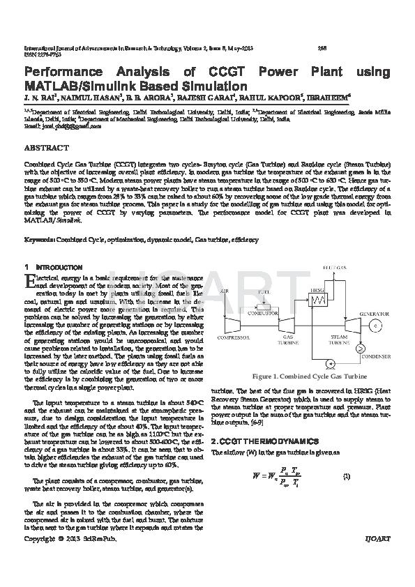 PDF) Performance Analysis of CCGT Power Plant using MATLAB Simulink