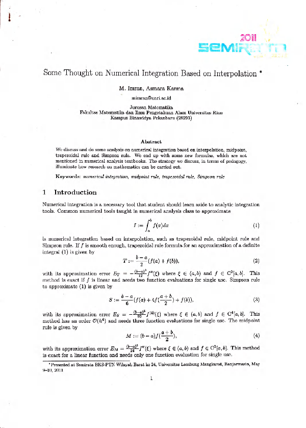 PDF) Some thought on Numerical Integration Based on Interpolation