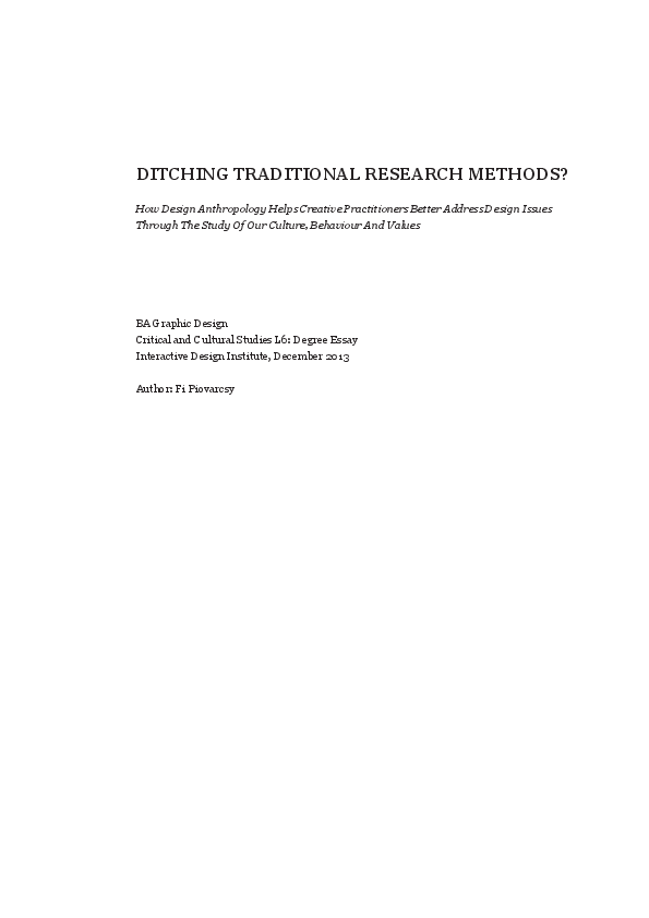 PDF) Design Anthropology: Ditching Traditional Research Methods