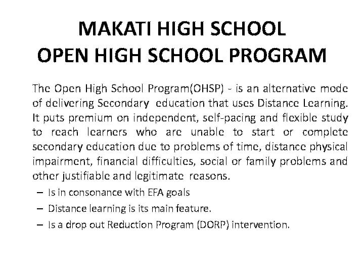 PDF) MAKATI HIGH SCHOOL OPEN HIGH SCHOOL PROGRAM | Felix
