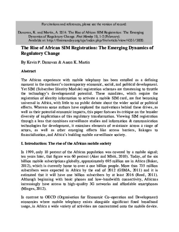 PDF) The Rise of African SIM Registration: The Emerging
