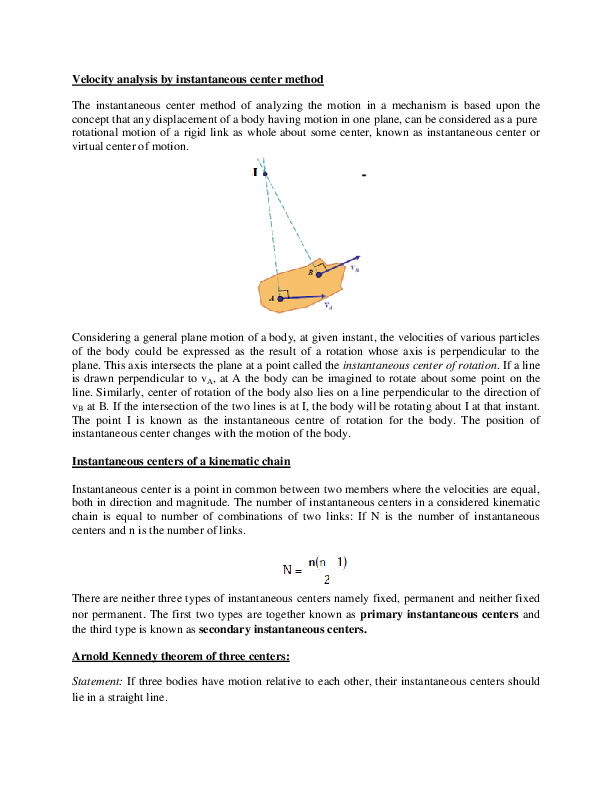DOC) Velocity Analysis-Instantaneous Center Method