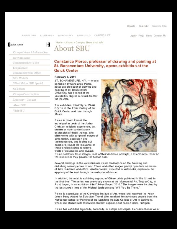 Sbu Academic Calendar.Constance Pierce Solo Exhibition Kyrie World Cry Regina A Quick