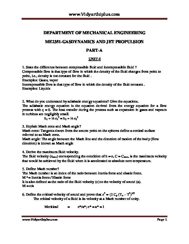 PDF) ME 2351 GAS DYNAMICS AND JET PROPULSION | Bibin