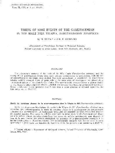 PDF) Timing of some events of the gametogenesis in the male