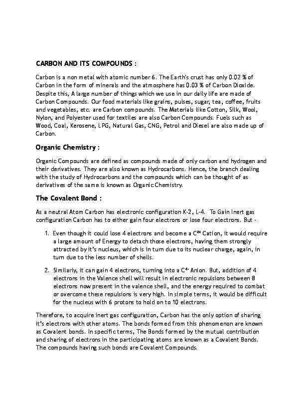 Pdf Carbon And Its Compounds Vishhvak Srinivasan Academia Edu