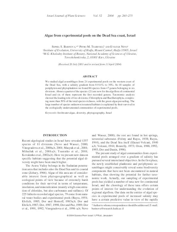 PDF) Algae from experimental pools on the Dead Sea coast