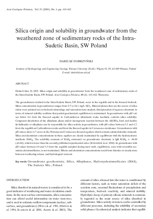 PDF) Silica origin and solubility in groundwater from the