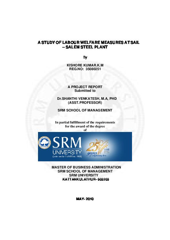 PDF) A STUDY OF LABOUR WELFARE MEASURES AT SAIL – SALEM