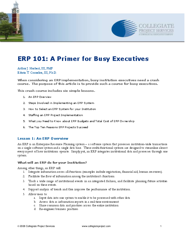 PDF) ERP 101: A Primer for Busy Executives | Siraj Siddiqui