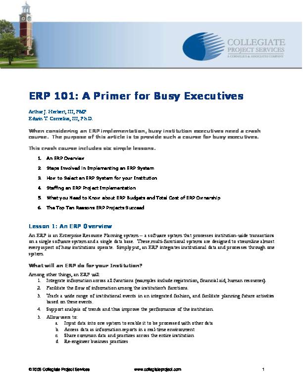 PDF) ERP 101: A Primer for Busy Executives   Siraj Siddiqui