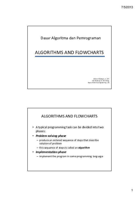 PDF) ALGORITHMS AND FLOWCHARTS | Arianto Simbogolo - Academia edu