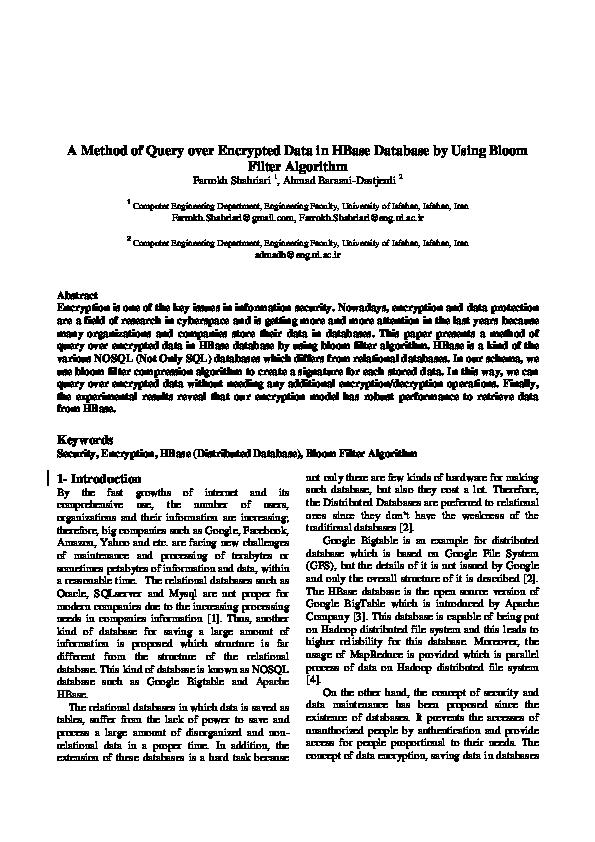 PDF) Maghaleh -Bloomfilter Encryption for HBase-Eng