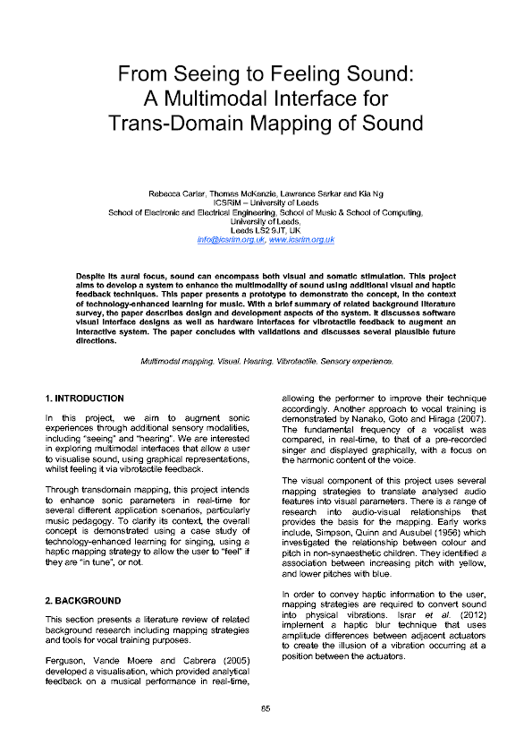 PDF) From Feeling To Seeing Sound: A Multimodal Interface