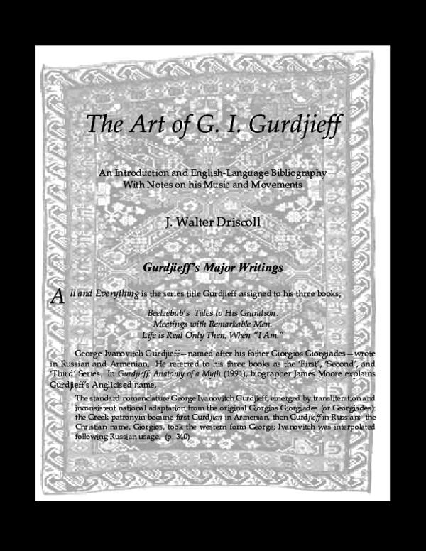 PDF) The Art of G  I  Gurdjieff | j walter driscoll