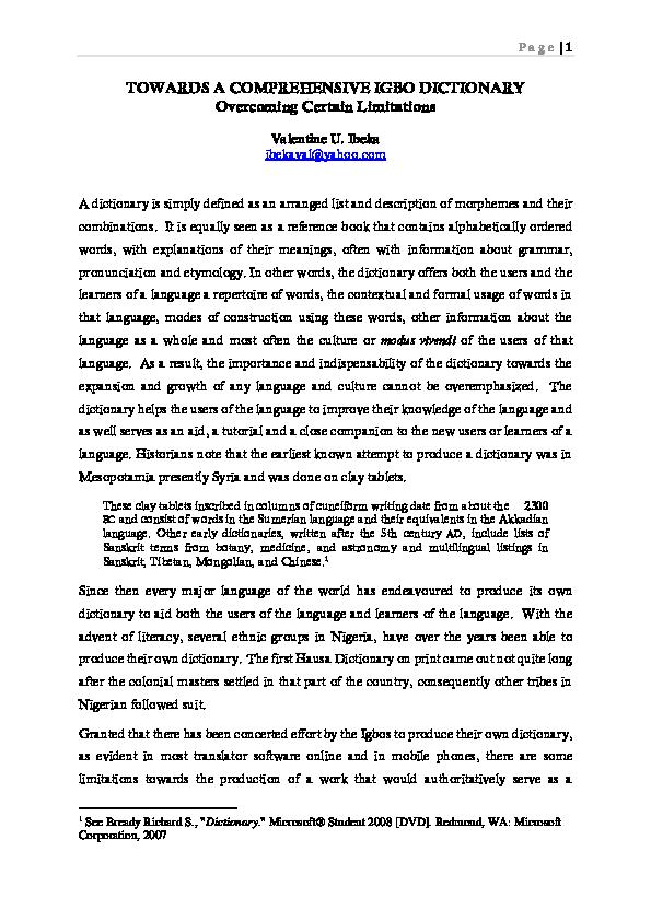 PDF) TOWARDS A COMPREHENSIVE IGBO DICTIONARY | Valentine