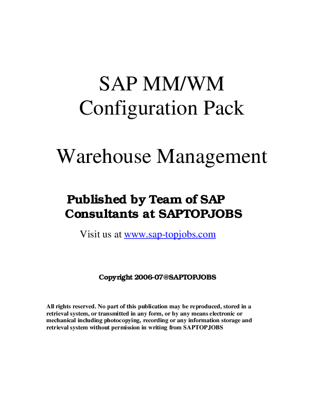 SAP MM/WM Configuration Pack Warehouse Management | Shibu Das